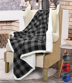 Catalonia Buffalo Check Sherpa Throw Blanket, Reversible Sof