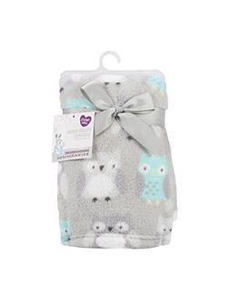 "PARENT'S CHOICE PLUSH BABY BLANKET, GRAY OWL 30""X36"""