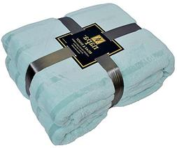 "Napa Plush Cashmere Throw Blanket Light Blue, 90""x90"" Queen/"