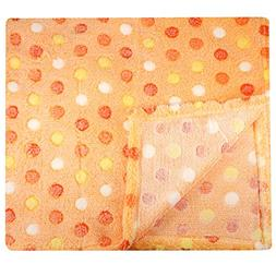 30x30 Inch Plush Fleece Baby Blanket - Assorted Colors Polka