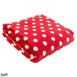 "Cozy Fleece Polka Dot Super Soft Throw, 60"" x 80"", Red"