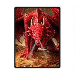 Fashion Press Creative Blanket Red Fire Dragon Design 58 x 8
