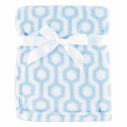 Luvable Friends Print Coral Fleece Blanket, Blue Hexagon