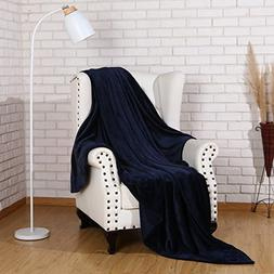 Flannel Throw Blanket Luxury Navy Blue Twin Size 60x80 Inche