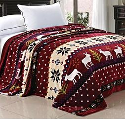 UK4 1 Piece 90 X 90 Inch Queen Burgundy Christmas Deer Throw