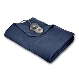 quilted fleece heated blanket queen newport blue