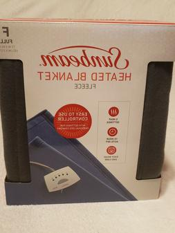 Sunbeam Quilted Fleece Heated Electric Blanket Full Size Gra