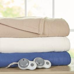 Sunbeam Quilted Fleece Heated Electric Blanket w/ ThermoFine