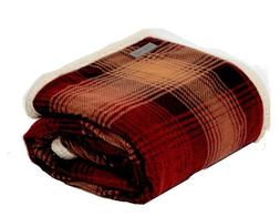Eddie Bauer Red Plaid Fleece Warm Cozy Blanket + Machine Was