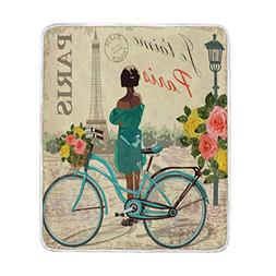 ALAZA Retro Bicycle Bike Rose Flower Floral Eiffel Tower Par
