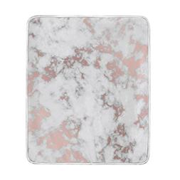 ColourLife Rose Gold Marble Soft Throw Cozy Warm Flannel Fle