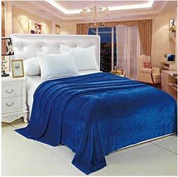Royal Touch King Size  Solid Color Micro-Fleece Blanket - Bl