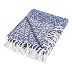 DII Rustic Farmhouse Cotton Blanket Throw with Fringe For Ch