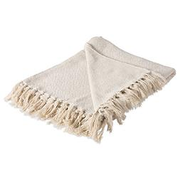 DII Rustic Farmhouse Cotton Diamond Blanket Throw with Fring