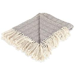DII Rustic Farmhouse Cotton Diamond Patterned Blanket Throw