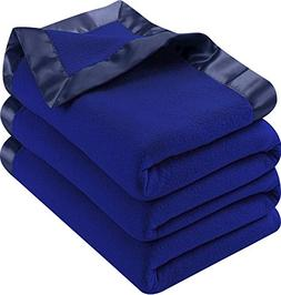 Polar Fleece Premium Bed Blanket with Sateen Ribbon Edges -