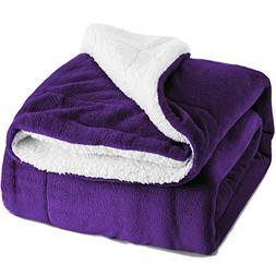 BEDSURE Sherpa Fleece Blanket Twin Size Purple Plush Throw B