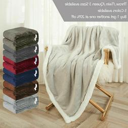 Sherpa Fleece Blanket Soft Plush Fabric Warm Thickened Bed S