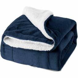 Sherpa Fleece Blanket Twin Size Navy Blue Plush Throw Blanke