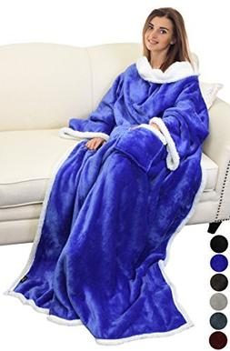 Catalonia Sherpa Wearable Blanket with Sleeves Arms,Super So