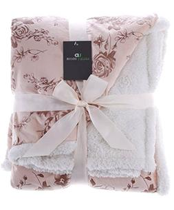 Legacy Decor Sherpa and Micro Fur Floral Embossed Throw Blan