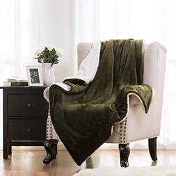 Sherpa Throw Blanket Olive Green Twin size 60x80 Bedding Fle