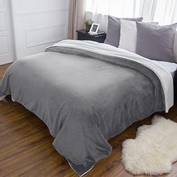 sherpa bed blanket grey king