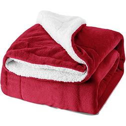 sherpa throw blanket red reversible