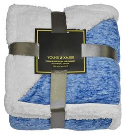 "Napa Sherpa Throw Blanket Snow Blue 50"" x 60"", Super Soft Mi"