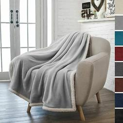 PAVILIA Premium Fleece Sherpa Throw Blanket | Super Soft, Co
