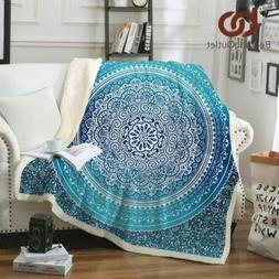 Sherpa Throw Blanket Turquoise Paisley Mandala Fleece Blanke