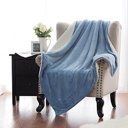 Sherpa Throw Blanket Carolina Blue Throw size 50x60 Bedding