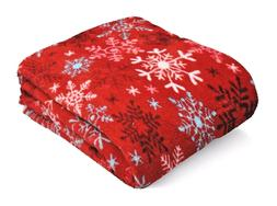 Snowflake Micro-Plush Throw Blanket, 50-inch by 60-inch, Red