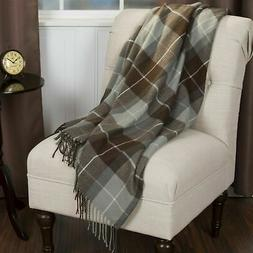 Lavish Home Soft Acrylic Blanket Throw 50 x 60 inches Brown