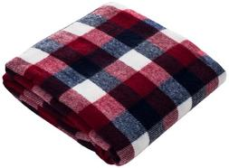 Lavish Home Soft Blanket Throw 50 x 60 - Red/Blue/White