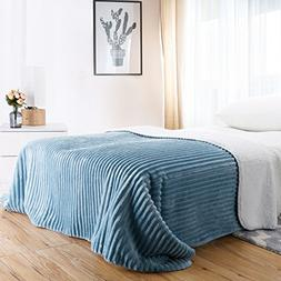 LANGRIA Soft Chunky Ribbed Flannel Blanket Super Warm and Co