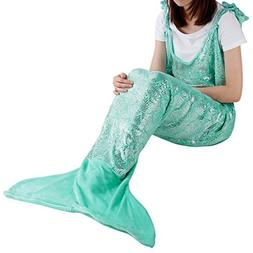 LANGRIA Soft Flannel Mermaid Tail Blanket for Adults Full-Bo