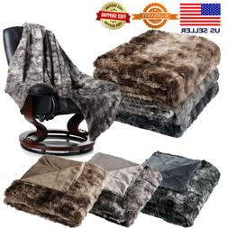 "60"" X 80"" Soft Flannel Faux Fur Fleece Blanket Throw Plush C"