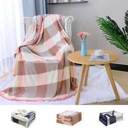 Soft Fleece Flannel Blanket Reversible Microfiber Plush Warm