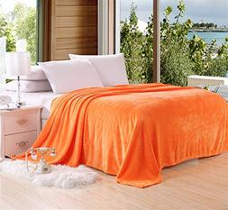 Solid Flannel Plush Throw Blankets, Bed Blanket Twin Full Qu