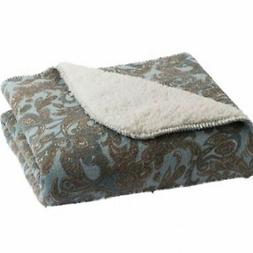 Sonoma Blue Paisley Sherpa Fleece Micromink Plush Throw Blan