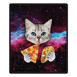 QH Cat With Pizza Printing Velvet Plush Throw Blanket Comfor