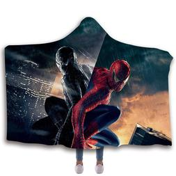 spiderman hooded fleece sherpa wearable blankets cloak
