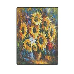 Summer Beautiful Yellow Sunflower Warmer Winter Fleece Throw