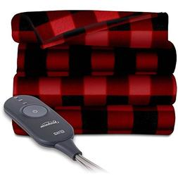 Sunbeam Heated Electric Throw Blanket Fleece Extra Soft, Red