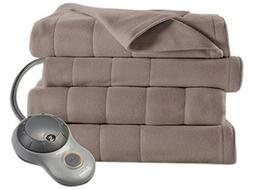 Sunbeam Quilted Fleece Heated Blanket, Full, Mushroom, BSF9G