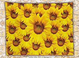 sunflower decor fleece throw blanket