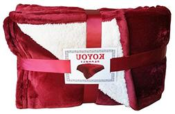 KOYOU Super Soft Burgundy Wine Red Plush Sherpa Borrego Blan