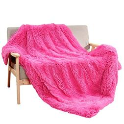 "DECOSY Super Soft Faux Fur Throw Blanket Hot Pink 50""x 60"" -"