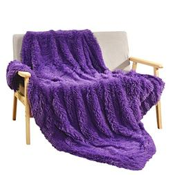 Decosy Super Soft Faux Fur Warm Cozy Sofa Blanket Purple / L